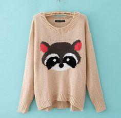 Cute Fox Face Leisure Sweater
