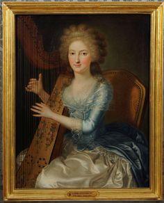 Ludwig Guttenbrunn, Cristina Tapparelli d'Azeglio con l'arpa, 1785 circa. Madre di Roberto e Massimo d'Azeglio, seguì il marito in esilio a Firenze.