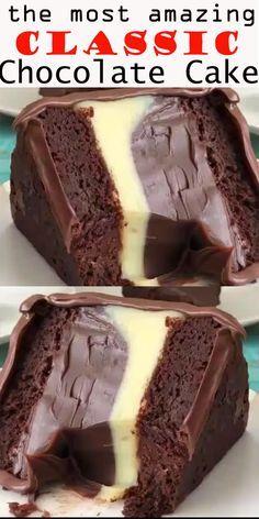Classic chocolate cake – recipes & DIY – About Dessert World Classic Chocolate Cake Recipe, Classic Recipe, Just Desserts, Dessert Recipes, Pudding Recipes, Dinner Recipes, Chocolate Desserts, Cake Chocolate, Chocolate Drip
