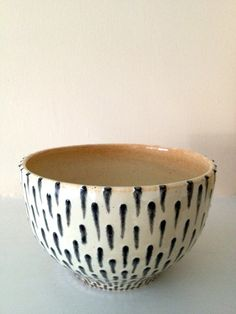 """RESERVED for M.K.: Graphical Beige and Black Wheel-Thrown Stoneware Bowl / Hundreds of Handmade Marks / Shino Glaze / """"APOSTROPHE"""""""