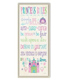 White 'Princess Rules' Rectangle Wall Art
