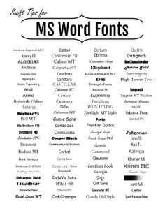 Get a quick idea of the various fonts, styles, serifs and san serifs available for Microsoft Word with this sample guide. Free to download and print