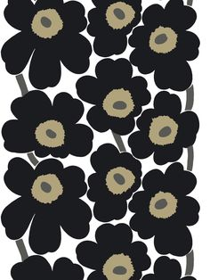 Marimekko fabric Unikko 9043.30  Unikko Black poppy fabric designed by  Maija and Kristina Isola
