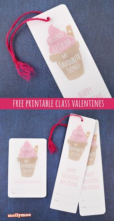 Free Printable School Valentine's Day Cards and Bookmarks For Kids - Friends and IceCream.... my favourite things xx