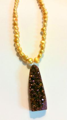 Titanium Druzy Necklace with Golden Pearls by LuvZiT on Etsy