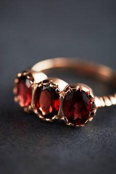 Garnet Trinity Ring in 14k Rose Gold - anthropologie.com
