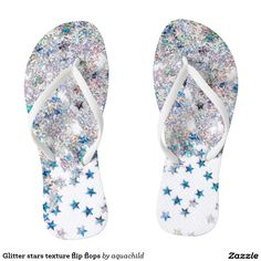 Glitter stars texture flip flops
