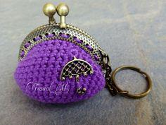 Llavero-monedero violeta con paraguas (color bronce)