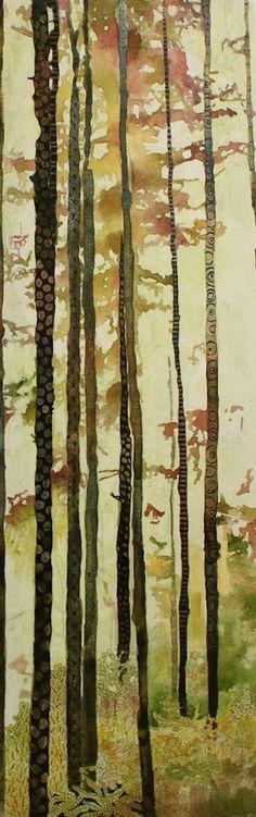 How to paint with watercolors on canvas and add zentangles: Forest Quilt by Sandrine Pelissier. Watercolor and mixed media on canvas