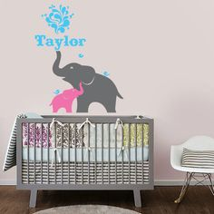 Elephant and Baby with Custom Name Vinyl Wall Decal for Nursery, Kids, Childrens Room. $32.00, via Etsy.
