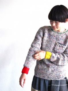 Colour cuffs | Flecked | Sweater | Knitted