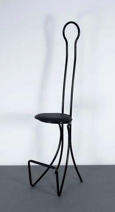 Achille Castiglioni; Enameled Metal and Leather 'Spluegen Braeu' Bar Stool for Zanotta, 1960.