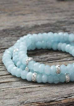 Aquamarine Sterling Bead Bracelet very pretty aquamarine~would love even more with a different silver spacer.