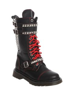 Black combat style rocker boots featuring pyramid stud buckle straps & detachable chains. Side zip closure.