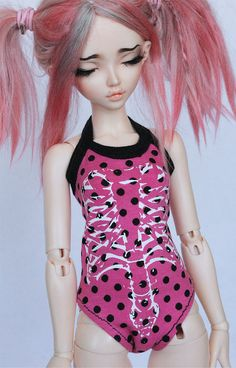 BJD MSD Minifee pink polka dot skeleton bones by MonstroDesigns