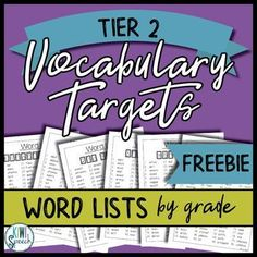 {FREEBIE} Vocabulary Targets Word List: K 5 (Tier 2 Words) : Speech therapy FREEBIE vocabulary targets word lists for kindergarten to grade. These can be used with open ended speech and language therapy games that I have created! Each grade has 80 di Vocabulary Activities, Speech Therapy Activities, Language Activities, Therapy Games, Therapy Ideas, Vocabulary Strategies, Listening Activities, Spelling Activities, Writing Strategies