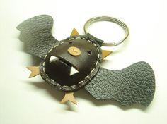 Juanita the Bat Leather Keychain Brown/Black by leatherprince, $18.90