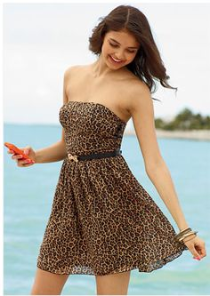 leopard strapless dress