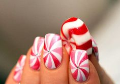 Peppermint-themed nails