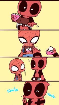 Deadpool has a lot of love to share Spideypool, Superfamily Avengers, Marvel Jokes, Funny Marvel Memes, Avengers Memes, Disney Marvel, Marvel Art, Marvel Dc Comics, Marvel Avengers