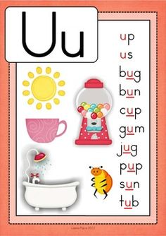 Alphabet Posters with CVC Words Phonics Flashcards, Alphabet Phonics, Flashcards For Kids, Alphabet Activities, Phonics Rules, Learning English For Kids, English Lessons For Kids, Phonics Reading, Teaching Phonics