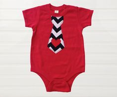 Boys Valentines Day Onesie Valentine Heart Tie T-Shirt Outfit Red Chevron Baby Toddlers 6 12 18 24 months size 2 3 4 5 6 8 10
