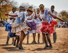 A group of a Tsonga girls in a dance