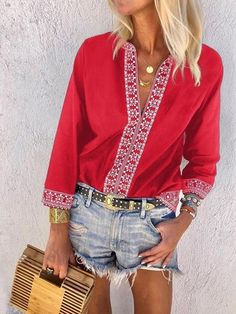 74625ab3f1ff Blusa Donna Cotone Maniche Lunghe V Collo Price €21.99. WhoisFashion