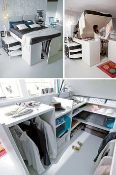 Check out this interesting bed with storage underneath. It's a perfect solution for small bedrooms. Click on image to see more small room designs and ideas.