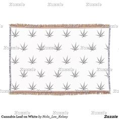 Cannabis Leaf on White Throw Blanket