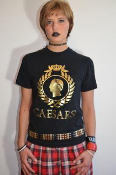 Vintage 80s Caesars Palace Gold Foil Logo Print T Shirt Tee, Rare Souvenir Exclusive Retro Fashion by PopWildlife on Etsy