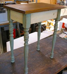 Aesthetics...A Junker's Journal: Vintage Stair Spindle Projects: Small Side Table