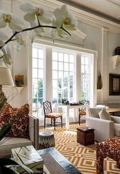 Note the chair and fabric.  A Palm Beach Regency Style Home- The Glam Pad