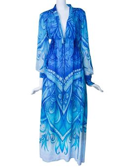 $600.00 Blue Silk Dress refined by Artistic Patterns. Monte Carlo Fashion Order here www.victorialuxurysilk.com EXCLUSIVE COLLECTION ON KAFTANS 100% PURE SOFT SILK FROM FRANCE