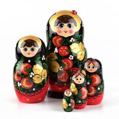 Khokhloma Ladybug Girl - $54.99  How lovely! This authentic Russian nesting doll was hand painted with a Khokhloma style design of berries, leaves, and gold accents.