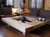 Irori (interior hearth) inspired coffee table. Japanese Hibachi, Irori, Living Spaces, Living Room, Oriental Design, Indoor Outdoor Living, Japanese House, Japanese Design, Fireplaces