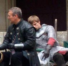 Bradley James, asleep on Anthony Stewart Head (Merlin).