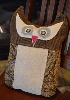 Upcycled Upholstery Fabric Owl Pillow Stuffed Owl by BundledUpLove