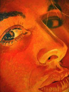 Painting made in 1986 by Anne Eijsten.  Onderdeel van de groepstentoonstelling 'Ze is mooi en ze lacht'.