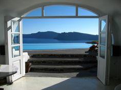view from Perivolas Hotel in Santorini, Greece