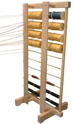 Leclerc Spool Rack with thread guide. A smaller version of this (especially with the thread guide) would be awesome for measuring and setting up fibers for kumihimo, finger loop braiding, cording and plying. Weaving Tools, Loom Weaving, Spool Holder, Spinning Yarn, Weaving Techniques, Kit, Hand Sanitizer, Textiles, Wood