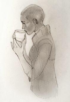 I drew Fleet Captain Breq having tea. Even AI programmed, recycled humans can appreciate a good tea.