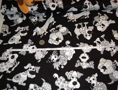 """Loralie Designs """"Doodle Dogs"""" on Black - High Quality Designer Fabric - Adorable Dog Art! by AllenHeart on Etsy"""