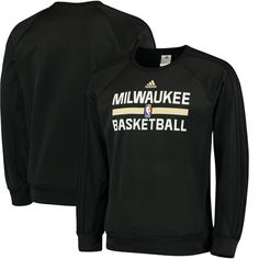 61f32c3628e Milwaukee Bucks adidas Pre-Game Graphic Crew Neck Sweatshirt - Black