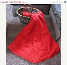 Christmas in July Sale Knit blanket Throw/lap red by selling on Etsy. Hand Knit Blanket, Lap Blanket, Green Blanket, Toddler Blanket, Warm Fuzzies, Baby Boy Or Girl, Christmas In July, Knitted Blankets, Hand Knitting