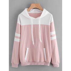 SheIn(sheinside) Contrast Panel Varsity Striped Hoodie ($16) ❤ liked on Polyvore featuring tops, hoodies, pink, long sleeve tops, long sleeve hoodie, pink hooded sweatshirt, long sleeve hooded sweatshirt and pink hoodie