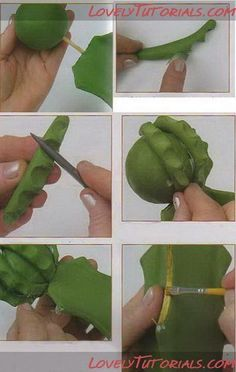Кактус -Cactus - Мастер-классы по украшению тортов Cake Decorating Tutorials (How To's) Tortas Paso a Paso Polymer Clay Flowers, Fimo Clay, Ceramic Flowers, Polymer Clay Jewelry, Tiny Flowers, Sugar Flowers, Clay Projects, Clay Crafts, Cactus Cake