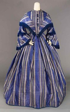 Lot: BLUE TAFFETA PLAID DAY DRESS, LATE 1850s, Lot Number: 0218, Starting Bid: $200, Auctioneer: Augusta Auctions, Auction: COUTURE, HISTORIC & VINTAGE CLOTHING AUCTION, Date: May 9th, 2017 MDT