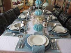 The Welcomed Guest: Blue and Stainless Steel Autumn Table Pumpkin Centerpieces, Glass Centerpieces, Glass Pumpkins, White Pumpkins, Table Manners, Autumn Table, Neutral Colors, Tablescapes, A Table