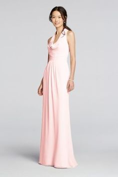 A sophisticated look that can carry you through any occasion! Long crinkle chiffon  dress features halter style straps with a cascading cowl front. 92876ef5d21a